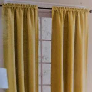 """mainstay Accents - NWT 54"""" Yellow Bennett Textured Panel Curtains"""